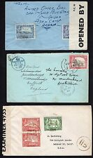 ADEN 1950's THREE CENSORED COMMERCIAL COVERS ONE TO UK & TWO to US DIFFERENT