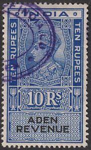Aden 1945 KGVI Revenue 10r Blue and Black Used BF24