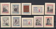 """GREECE 1940, Sc#427-436, imperf.,""""proofs"""", in issued colors, No Gum"""