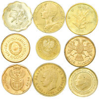 SET OF 9 COINS FROM 9 DIFFERENT COUNTRIES BRASS COINS LOT