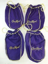 Lot of 4 Crown Royal 750ml Purple Drawstring Bags - 9""