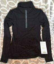Ivivva Girls 10 Another Lap 1/2 Zip Black BLK Rulu Cinch Hem Thumbholes Gym NWT