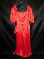 Vintage 80s XS Red Off Shoulder Maxi Dress Formal Party Dance Prom Poof Sleeve