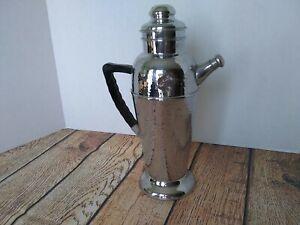 "Vintage Chrome Stainless Bar Drink Tea Mixer Pitcher 13"" Tall"