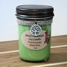 8 oz. Fresh Cucumber Handmade Natural Soy Wood Wick Jelly Jar Light Green Candle