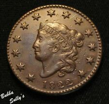 1822 Coronet Head Large Cent <> N-6 R1+ Wide Date <> Au Details