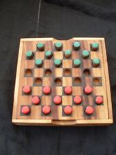 HANDMADE WOODEN TRADITIONAL GAME DRAUGHTS CHECKERS BRAND NEW TRAVEL SIZE