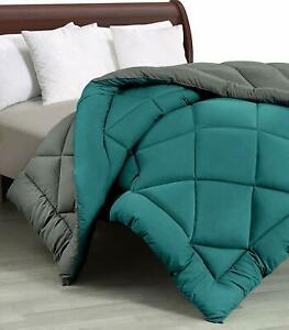 Double Bed Reversible Comforters, Fabric Cotton 300 GSM, Teal & Light Grey