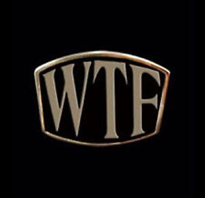 Solid Bronze WTF Letter Biker Ring Blk Enamel Custom Sized TL-011b