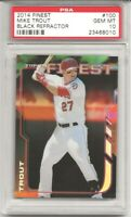 Mike Trout 2014 TOPPS FINEST #100 BLACK REFRACTOR Ser#19/99 PSA 10 PERFECT