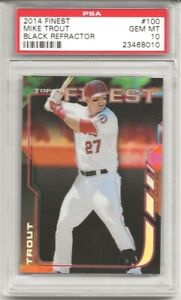 2014 TOPPS FINEST #100 MIKE TROUT, BLACK REFRACTOR, #19/99 PSA 10 PERFECT
