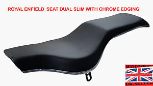 SEAT DUAL SLIM WITH CHROME EDGING ROYAL ENFIELD BULLET Classic BIKE MOTORCYCLE