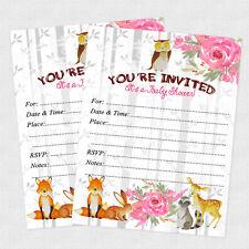 20 Woodland Baby Shower Invitations Girl Invites Owl Forest Winter Invitation