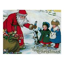 """*Postcard-""""Merry Christmas-""""Santa Hands Out Toys to Kids""""  (B-127)"""