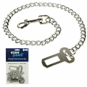 Ezee Paws Metal Chain Dog Seat Belt for Car Strong Chew Proof Safety Harness