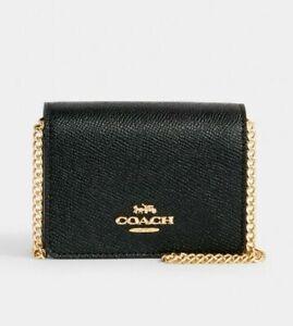 Coach Mini Wallet On A Chain Black Crossgrain Leather