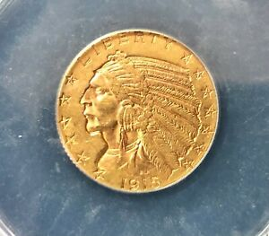 1915 $5 DOLLAR UNITED STATES INDIAN HEAD GOLD COIN ANACS AU 55