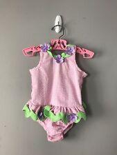 1ba2c4e871 Funtasia Too Pink Seersucker Ruffle Sunsuit Swim Suit Bathing Suit Size 24  Mo