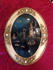 """""""On The Danube"""" Antique Reverse Painted Convex Bubble Glass Ornate Oval Frame"""