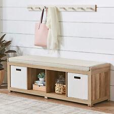 Weathered Shoe Organizer Storage Wood Bench 4-Cube Comfortable Top Foam Cushion