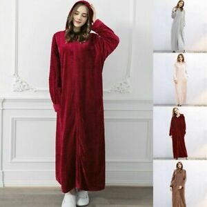 Ladies Hooded Dressing Gown Bath Robe Warm Soft Womens Fleece Zip Up Long Robes*