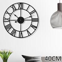 Grande Horloge Murale De Jardin En Métal Chiffre Romain 40CM Rond Face Noir