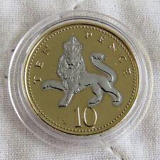 2005 QEII 10 peniques oro en capas con rodio platino