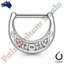 316L Surgical Steel Silver Ion Plated Crystals Set Filigree Nipple Clicker