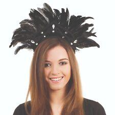 Black Feather Carnival Headdress Fancy Dress