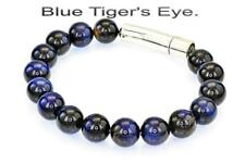 5B-051 Finely Made Stainless Steel & Blue Tiger's Eye Wristband Men Bracelet.