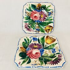 Pair of Seven Inch Square Plates Hand Painted Floral Italy Italian Pottery