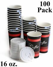 100 Pack 16 Oz Disposable Poly Paper Hot Tea Coffee Cups With Flat White Lids