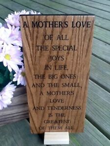 "Christmas Gift Ideas For Mom Wood Poem Plaque Sign  ""A Mother's Love"""