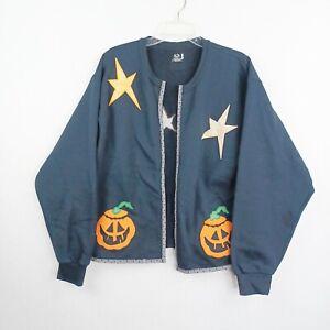 Vintage Fruit Of The Loom Halloween Sweater Cardigan Size Large Black Pumpkins