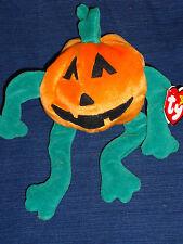 TY Original Beanie Baby plush PUMPKIN w/Tag 1998 Halloween Jack-o-lantern