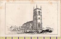 C1880 Antico Vittoriano Stampa ~ Worstead Parish Chiesa Norfolk &