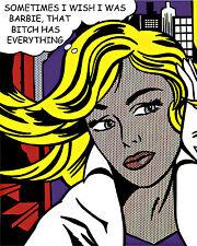 Roy Lichtenstein Style Barbie Pop Art Canvas 16 x 20