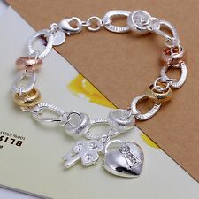 Wholesale 925Sterling Solid Silver Jewelry Crystal Gold Heart Bracelet Women