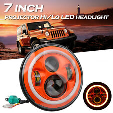 "Orange 7"" Round LED Headlight Hi/Low Beam Halo Angle Eye For Jeep Wrangler JK LJ"