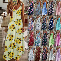 Womens Beach Summer Sundress Ladies Party Maxi Floral Loose CAMI Long Slip Dress