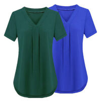 New Women Short Sleeve T-Shirt V-Neck Basic Tee Tunic Top Blouse Loose Casual