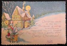 Christmas Carols In The Air Vintage Illustrated Card Xmas Inn In The Woods (O)