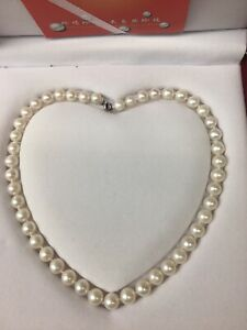 """Zhenjiang Province DZR Natural Pearl Necklace 18"""" W 925 Sterling Silver Clasp"""