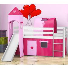 Spielbett Hochbett Bett Set Rutsche Turm Vorhange Mädchen Set 90x 200cm Rosa