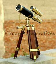 Double Barrel Working Nautical Marine Wooden Brass Telescope Tripod Stand Decor