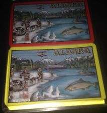 Alaska Double Deck Playing Cards Totem Mountains Salmon Sled Dogs Animals