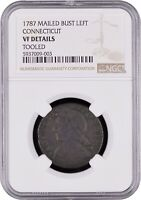 1787 CONNECTICUT COPPER, MBL, Arrows At Date, M 14-H, R3, NGC VF Details, W-2895