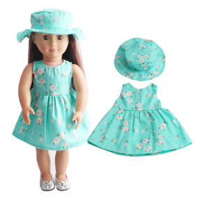 ]Summer Floral Dress Party For 18 Inch Girl Doll Clothes Accessory Gifts