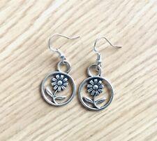 on Sterling Silver Earwires Flower Pendent Dangly Earrings