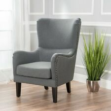 Salerno Mid Grey Fabric High Back Wing Lounge WingBack  ArmChair